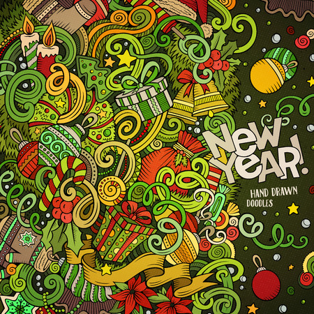 Cartoon cute doodles hand drawn Happy New Year frame design. Colorful detailed, with lots of objects background funny vector illustration. Illustration
