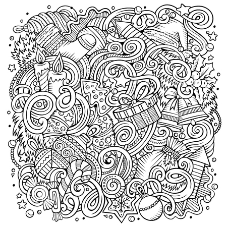 Cartoon cute doodles hand drawn New Year illustration. Line art detailed, with lots of objects background funny vector artwork