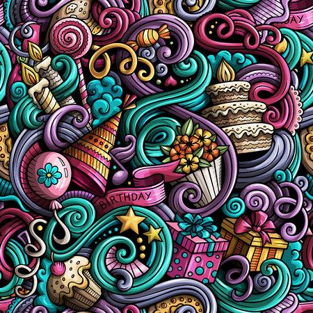 Colorful cute cartoon doodles pattern. Illustration