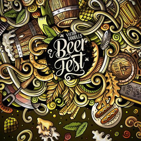 Beer fest banner with colorful doodles. Иллюстрация