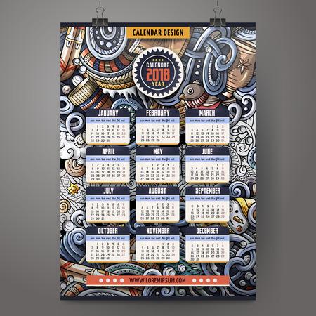 Year 2018 calendar. Çizim