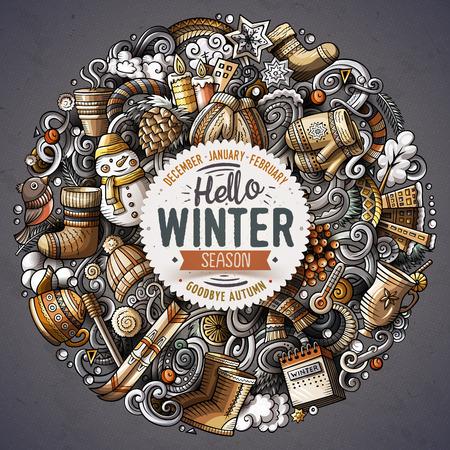 こんにちは冬のバナー。  イラスト・ベクター素材
