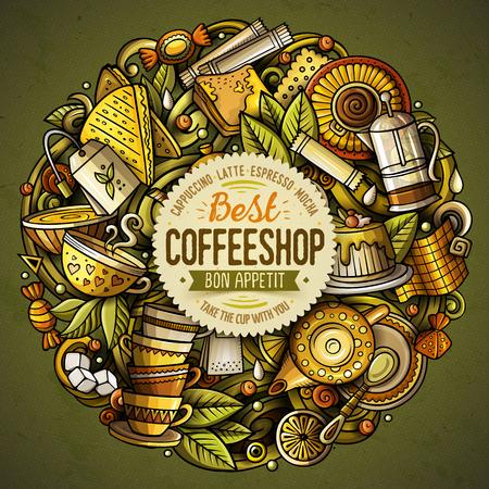 Best coffee shop doodle banner. Ilustração
