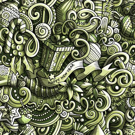 Christmas cartoon doodles pattern.