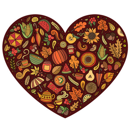 Doodle cartoon set of Autumn objects Ilustração