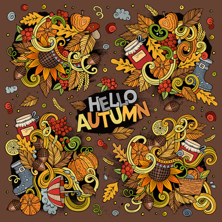 Set of Autumn theme items, objects and symbols