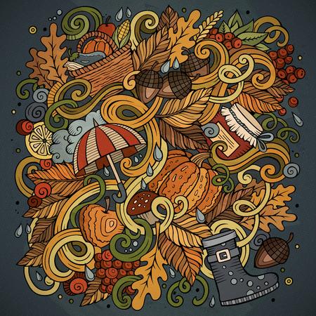 Disegni carino cute doodles disegnato a mano illustrazione di autunno Archivio Fotografico - 85652271