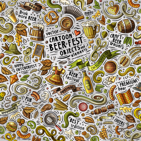 Cartoon cute doodles hand drawn Beer fest illustration with lots of objects . Funny vector artwork