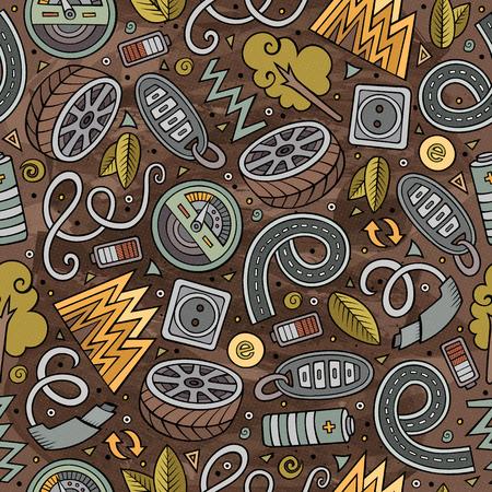 Cute hand drawn automotive pattern.