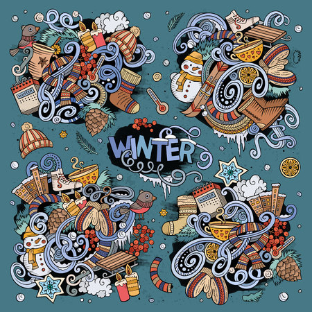 Colorful hand drawn doodle cartoon set of Winter season objects and symbols.