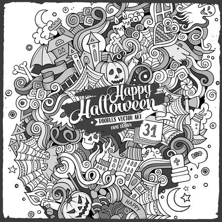 Cartoon cute doodles hand drawn Halloween illustration.