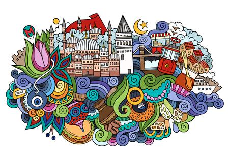 イスタンブールベクトル手描きイラスト