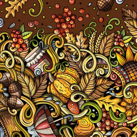 Cartoon cute doodles hand drawn Autumn frame design Фото со стока - 85813844