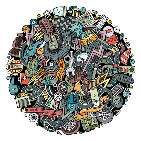 Cartoon cute doodles Automotive illustration.