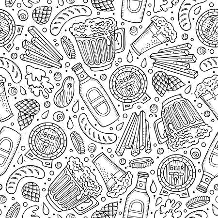 Hand gezeichnetes Bierfestmuster der Karikatur Standard-Bild - 86844589
