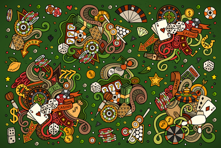 Colorful vector hand drawn doodles cartoon set of Casino objects. Ilustração