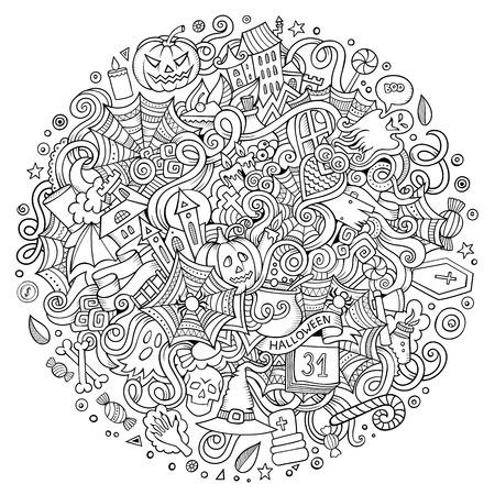 漫画のベクトルは、ハッピーハロウィン イラストをいたずら書き。  イラスト・ベクター素材