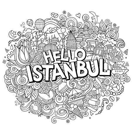 Cartoon cute doodles hand drawn Hello Istanbul inscription. Иллюстрация