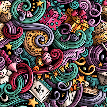 Cartoon cute doodles hand drawn Holidays seamless pattern.