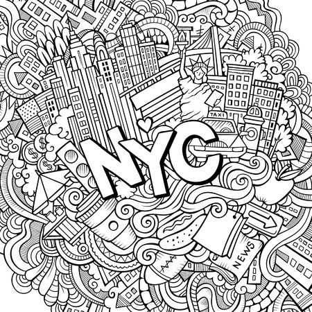 Cartoon cute doodles hand drawn New York contour illustration. Line art detailed, with lots of objects background. Funny vector artwork. Illustration