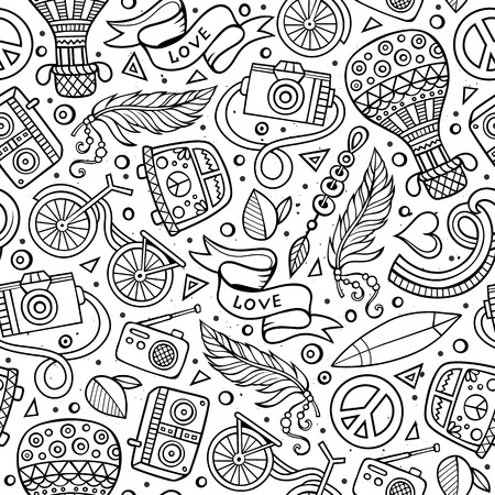 Cartoon hand-drawn hippie doodles seamless pattern. Line art detailed, with lots of objects vector background.