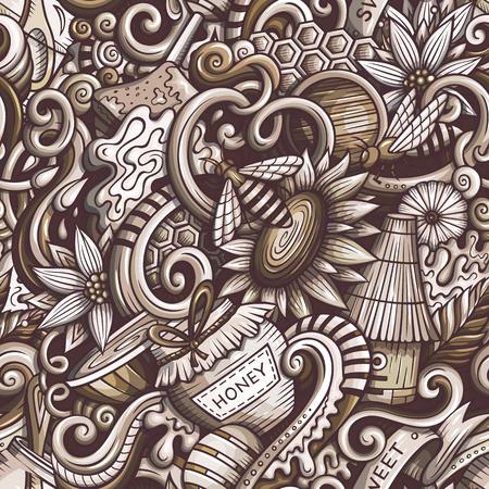 Cartoon niedlichen Doodles Hand gezeichnet Honig nahtlose Muster Standard-Bild - 86844613