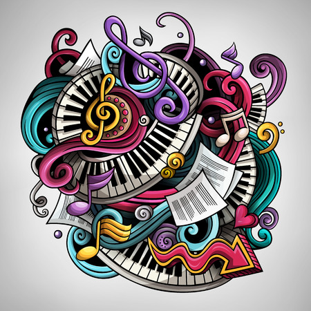 Cartoon cute doodles Music illustration