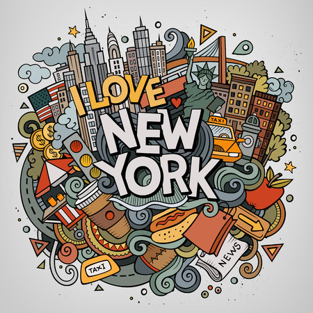 Cartoon cute doodles hand drawn New York inscription. Colorful illustration with American theme items. Line art detailed, with lots of objects background. Funny vector artwork. Illustration