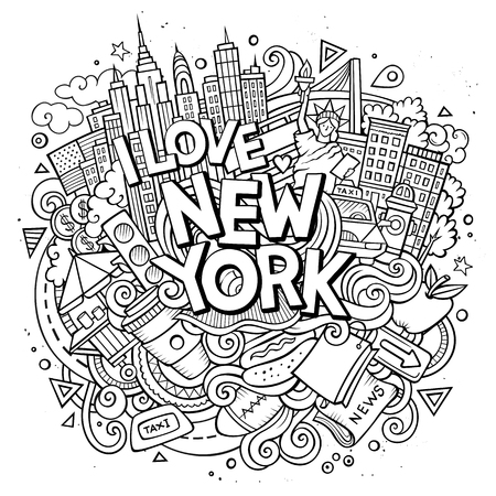 Cartoon cute doodles hand drawn I love New York inscription. Sketch illustration with American theme items. Line art detailed, with lots of objects background. Funny vector artwork.