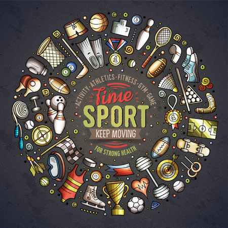 Colorful vector hand drawn set of Sport cartoon doodle objects, symbols and items. Round frame composition. Ilustrace