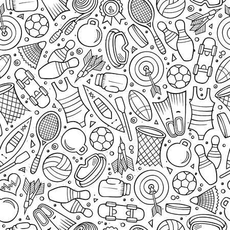 Cartoon cute hand drawn Sport seamless pattern. Line art detailed, with lots of objects background. Endless funny vector illustration. Ilustracja