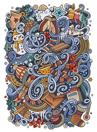 Cartoon doodles Winter season illustration