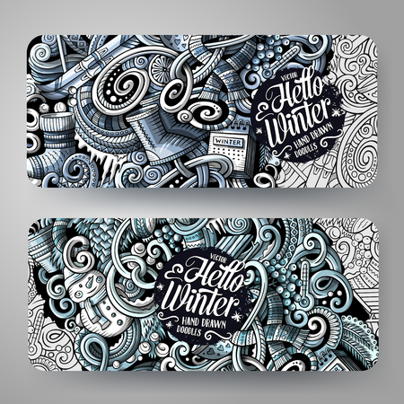 Cartoon monochrome vector hand drawn doodles Winter corporate identity