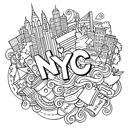Cartoon cute doodles hand drawn NYC inscription Illustration