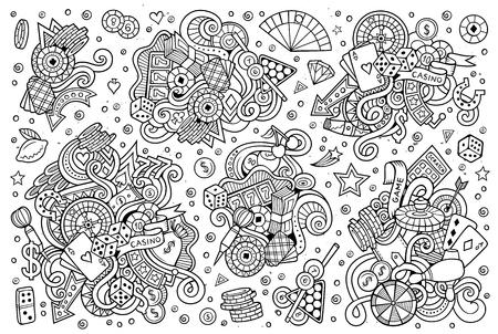 스케치 손으로 그린 낙서 카지노 개체의 만화 세트