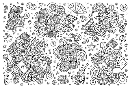 Sketchy hand drawn doodles cartoon set of Casino objects