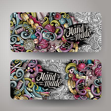 Cartoon kleurrijke vector hand getrokken doodles handgemaakte 2 horizontale banners