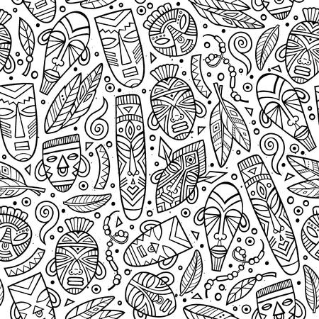 Cartoon schattig hand getrokken Afrikaanse naadloze patroon Stockfoto