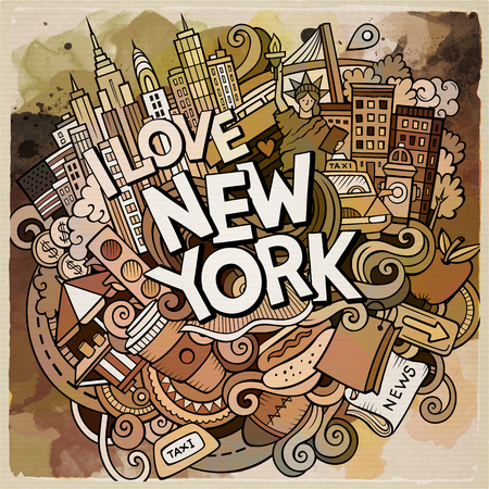 Cartoon cute doodles hand drawn New York inscription. Watercolor illustration with american theme items. Detailed, with lots of objects background. Funny vector artwork Stock Photo