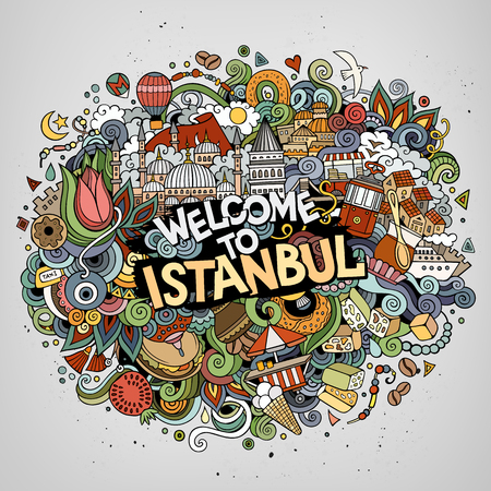 Cartoon cute doodles hand drawn Welcome to Istanbul inscription Stock Photo