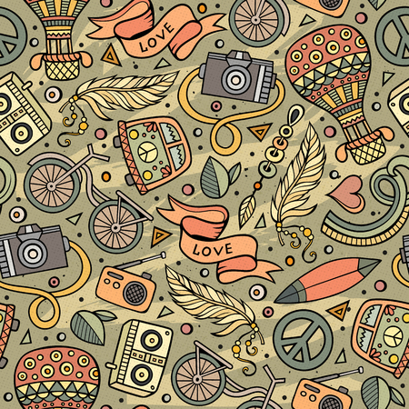 Cartoon vector hippie seamless pattern