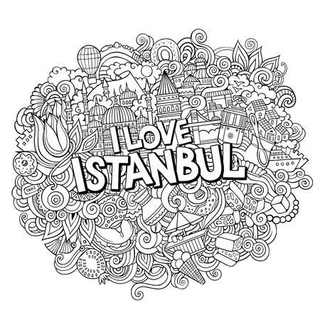 Cartoon cute doodles hand drawn I Love Istanbul inscription