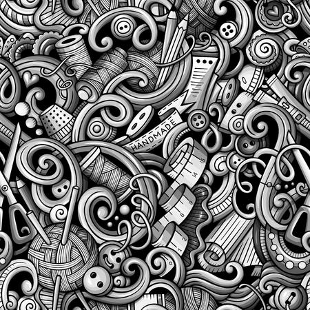 Getrokken met de hand gemaakt naadloos patroon van beeldverhaal het leuke krabbels hand