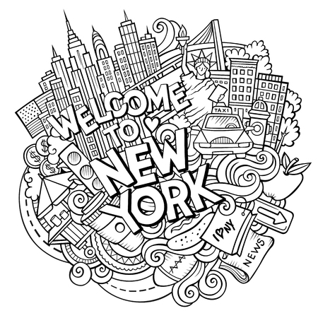 Cartoon cute doodles hand drawn Welcome to New York inscription