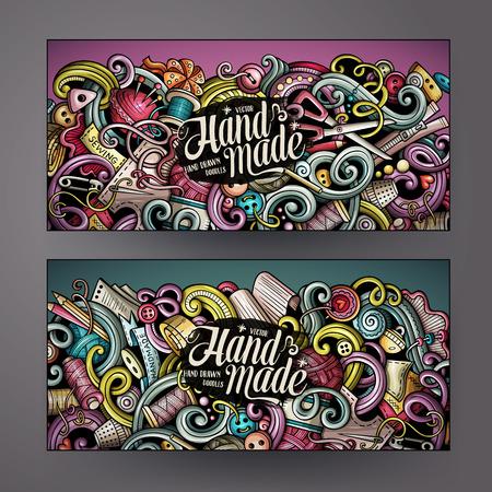 漫画カラフルなベクトル手描き手作りコーポレート ・ アイデンティティをいたずら書き。2 水平方向のバナー デザイン。テンプレート セット  イラスト・ベクター素材