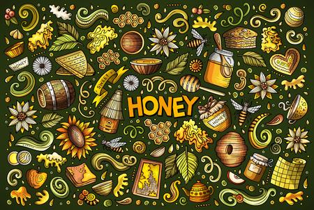 Hand drawn doodle cartoon set of Honey theme items, objects and symbols
