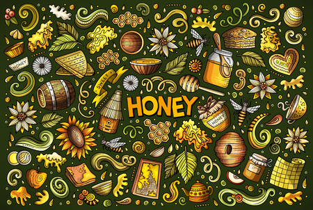 Hand drawn doodle cartoon set of Honey theme items, objects and symbols