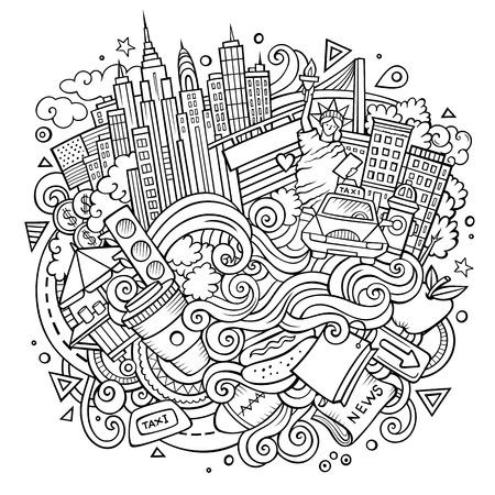 Cartoon niedlich Kritzeleien Hand gezeichnet. Standard-Bild - 86844644