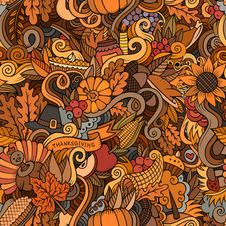 Cartoon cute doodles hand drawn Thanksgiving seamless pattern
