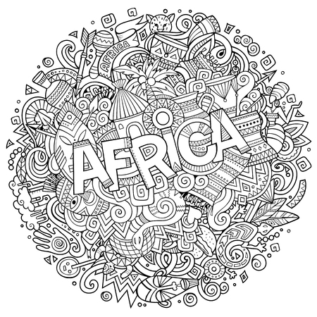 Cartoon cute doodles hand drawn Africa inscription. Illustration with african theme items. Sketchy detailed, with lots of objects background. Funny vector artwork